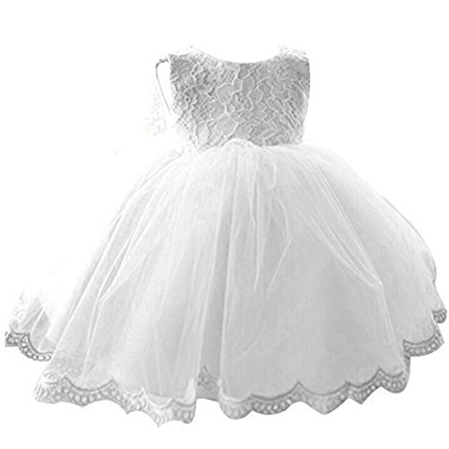 NNJXD Girls' Tulle Flower Princess Wedding Dress For Toddler and Baby Girl White 18-24 Months