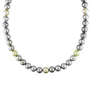 14k White Gold Black Tahitian and South Sea Pearl 0.06ct TDW Diamond Pearl Necklace (18in)