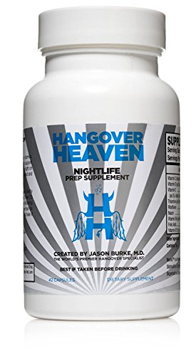 Highest Rated Hangover Prevention Supplement by Hangover Heaven   Formulated by Dr. Jason Burke - World Famous Hangover Specialist   Reduce Migraines, Nausea, Dizziness, Fatigue (42 Capsules)