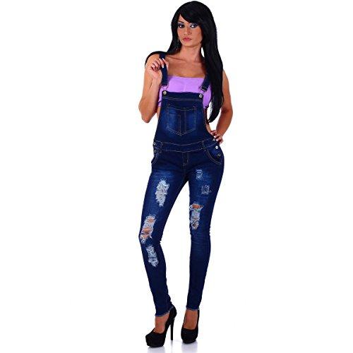 5303 Fashion4Young Damen Latzhose Hose mit Träger Röhren Jeans Overall Jeanshose Latzjeans