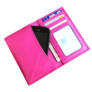 i-KitPit Genuine Leather Wallet Flip Pouch Case For Micromax Canvas Turbo A250 (Pink)