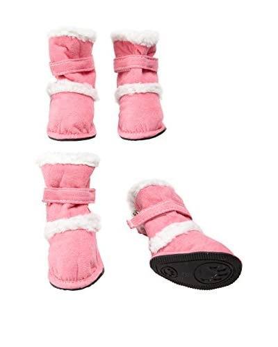 Pet Life Duggz Snuggly Faux Shearling Dog Boots, Pink/White, Small