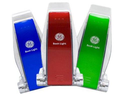 GE 17228 LED Battery-Operated Clip-On Book Light, Multiple Colors, 3 Pack