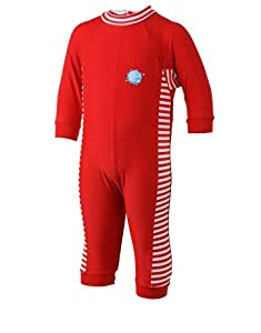 Splash About Kids UV All-in-One Sun Protection Suit - Red/White Stripes, 0-3 Months