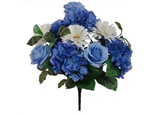 "1 20"" Artificial Silk Blue Gerbera Daisy Hydrangea Rose Bush"