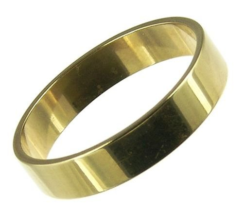 Men's Wedding Ring, 9 Carat Yellow Gold Flat Metal Shape, 4mm Band Width