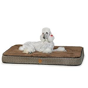 K&H Orthopedic Superior Pet Bed, Large 40-Inch by 50-Inch, Mocha Paw Bone Print