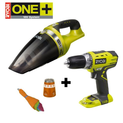 RYOBI 18V ONE+ Akku Handsauger CHV182M, inkl. 5 Mikrofasert&#252;chern, im Set mit Akku-Bohrschrauber RCD1802M und AEG-Bitbox, ohne Akku und Ladeger&#228;t