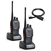 Baofeng BF-888S UHF 400-470MHz 16CH CTCSS/DCS With Earpiece Hand Held Mobile Amateur Radio Walkie Talkie 2 Way Radio Long Range Black 2 Pack and USB Programming Cable
