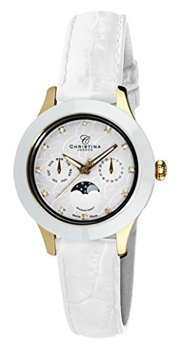 Christina Design London Diamond Night Moonphase women's quartz Watch with white Dial analogue Display and white leather Strap C307GWW