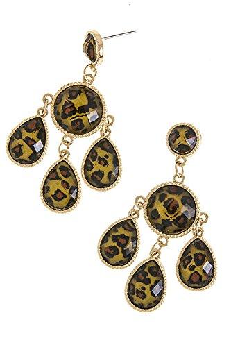 The Jewel Rack Leopard Skin Print Crystal Link Earrings