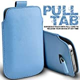 Gadgets World Pull Tab Pu Leather Pouch Cover Case Only Fits Samsung E1200,E2121 - baby blue