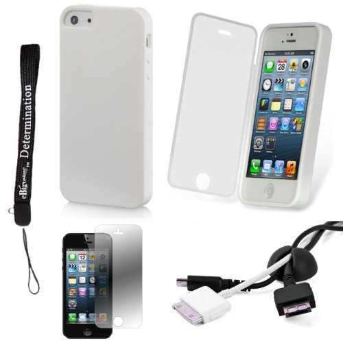 White Tpu Skin Cover Case With Built In Screen Protector For Apple Iphone 5 Ios (6) Smart Phone + Black Cord Organizer + Apple Iphone 5 Screen Protector + An Ebigvalue Tm Determination Hand Strap