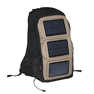 SunPlug Solar Backpack, Siege color, 4.05 Watts Solar Panel, 2200mAH Rechargable Battery.