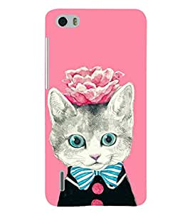 PRINTSHOPPII KITTY WITH FLOWER Back Case Cover for Huawei Honor 6