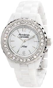 Armitron Women's 75/4011WTSV White Ceramic Silver-Tone Swarovski Crystal Accented Bracelet Watch