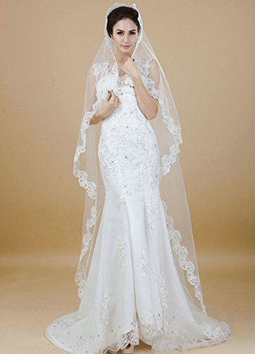 Nero Vintage Wedding Veil with Lace Edge, Fashion Bridal Veil for Women (Ivory)