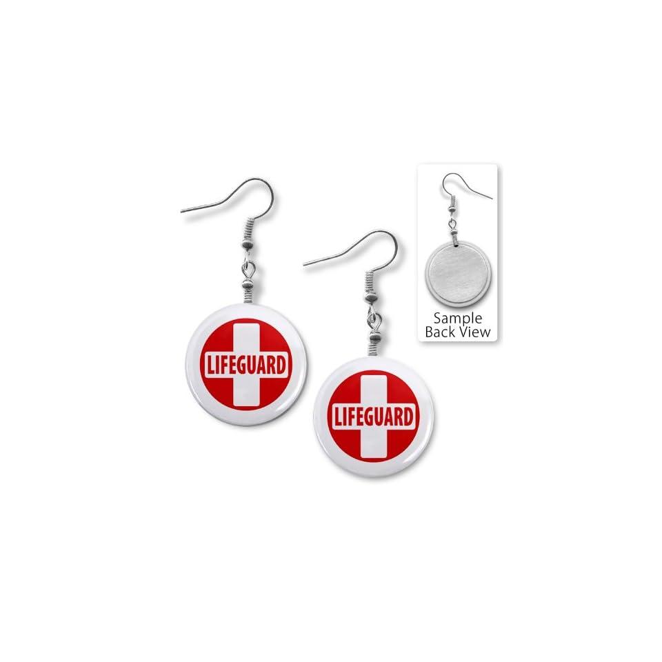 LIFEGUARD CROSS Red White Heroes 1 inch Dangle Earrings