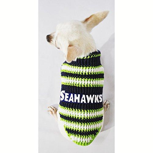 Seattle Seahawks Dog Clothes NFL Dog Jerseys Football Pet Costumes Puppy Sweaters Super Bowl Chihuahua Clothing Handmade Crochet Dk975 Myknitt - Free Shipping (XXS)