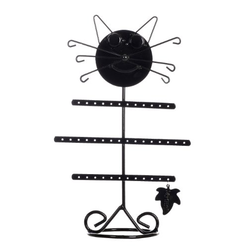 Cute Cat Design Black Metal Earring Hanger Necklace Organizer Bracelet Holder Jewelry Storage Display Stand front-1076563