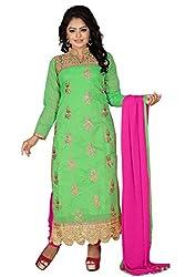 JHEENU Green Women's Chanderi unstitched Straight Salwar Suit dress material