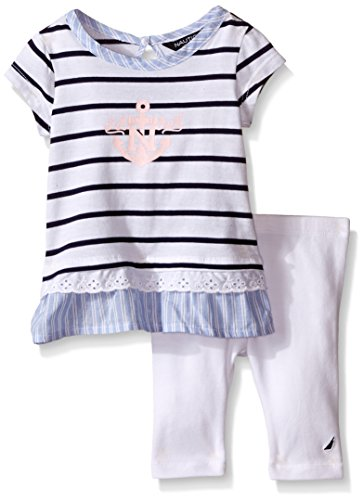 Nautica Baby Ministripe Top with Jersey Leggings, Sail White, 24 Months