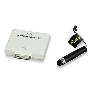 Hebron iPad 3 iPad 2 Camera Connection Kit USB/SD-Karte/SDHC-Karte - 2te Generation - (ab 23.09 funktioniert auch mit iOS6, mit RapidSpeed TM, USB/SD automatische Erkennung ohne Umschalter) + Gratis iPad SmartPencil von LEICKE
