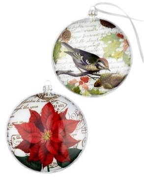 Holiday Lane Chickadee Bird and Poinsettia Set of 2 Glass Disc Ornaments