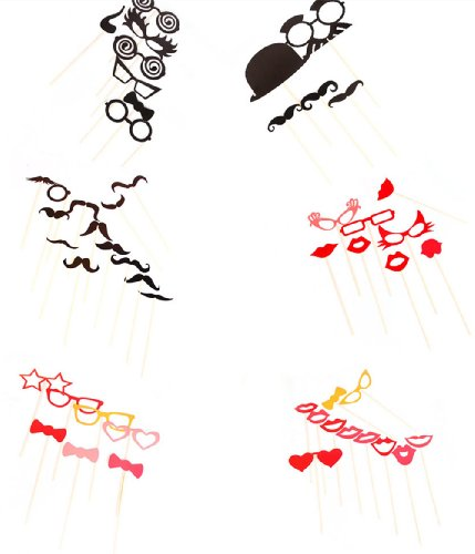 Masione 50Pcs On A Stick Photo Booth Props Wedding Birthday Party Moustache&Lips front-718665