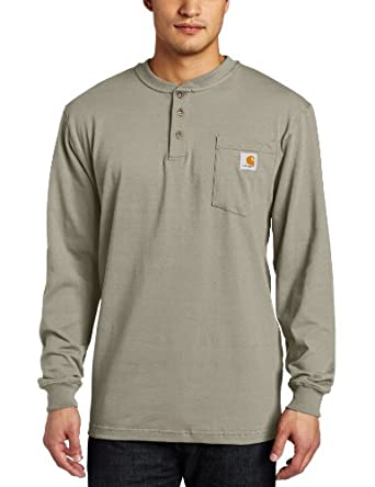 Carhartt Men's  Workwear Pocket Long Sleeve Henley Midweight Jersey Original Fit,Desert,Small