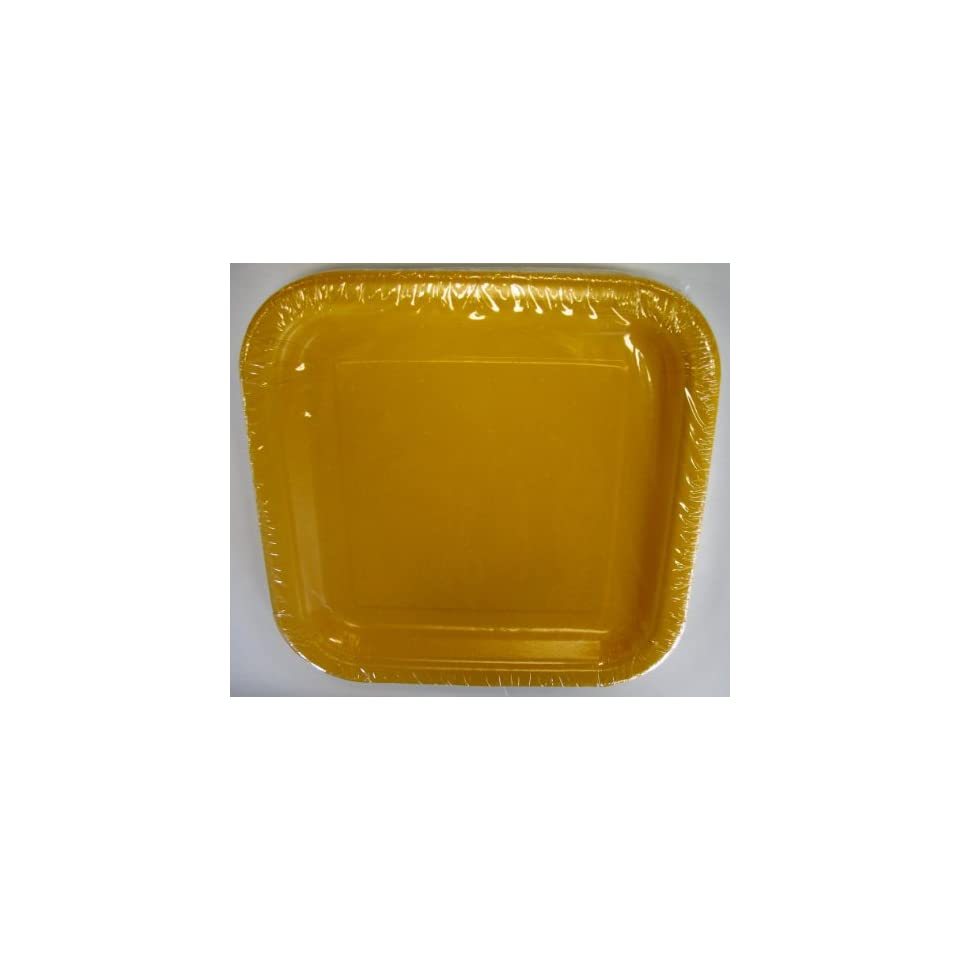 Yellow Dinner Square Paper Plates 14ct