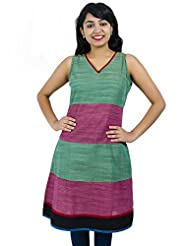 Simply Sapnaa's Women's Cotton Printed Half Sleeve Kurti (Wine)