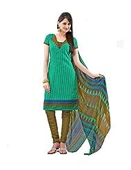 FadAttire Printed Cotton Suit-Green-FAKR02
