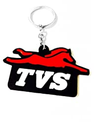 Keychain TVS Red Black Rubber Synthetic Metal Keyring