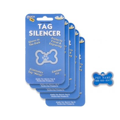Quick-Tags Dog ID Tag Silencers (5 Pack) - Large Bone Shaped