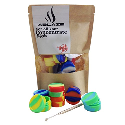 ABLAZE Dab Wax Silicone Oil Container Set Non Stick Jars Set of 10 Pcs Mixed Colors (Oil Slick Container compare prices)