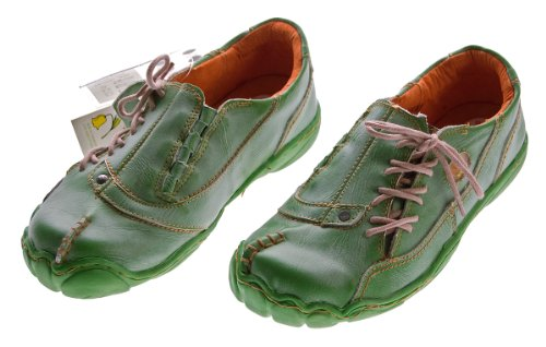 Comfort Damen Leder Schuh von TMA EYES Grün Used Look Schuhe echt Leder Gr. 37
