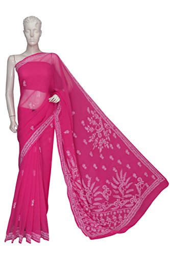 ADA-Lucknow-Chikankari-Hand-Embroidered-Designer-Ethnic-Georgette-Saree-With-Blouse-A120054