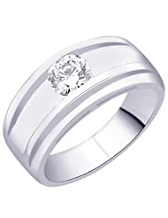 7 Mm Peora Sterling Silver Rhodium Round CZ Solitaire Engagement Wedding Mens Ring (PR2066)