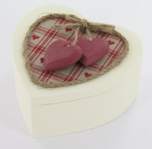 Cream Wooden Valentines Gift Box With Wooden