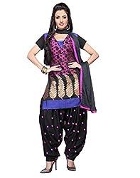 Lookslady Pink & Black Bhagalpuri Salwar Kameez