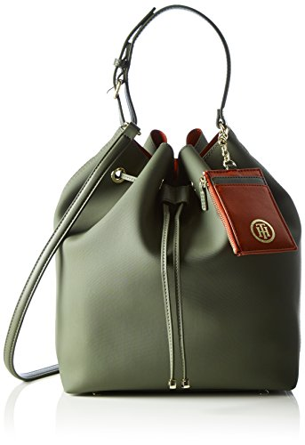 Tommy HilfigerLOVE TOMMY TH BUCKET SOLID - Borsa con Maniglia Donna , Multicolore (Mehrfarbig (Military / Scooter Red 902 902)), 25x32x13 cm (B x H x T)