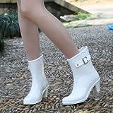 快適おしゃれ レインブーツ ショート レディース 長靴 24-24.5cm Lサイズ 白/ホワイト 雨の日 梅雨 季節