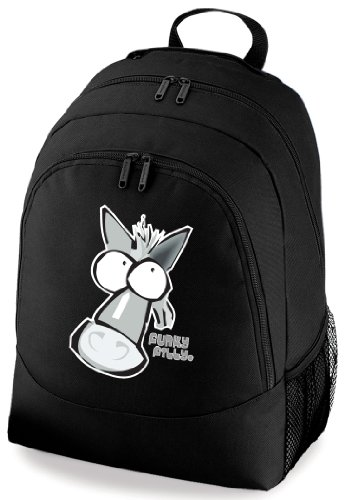 Funky Filly® Girls Pony 'Silver Grey Horse Head' School Backpack Black With Padded Back Panel, Internal Organiser Section, Haul Handle, Side Mesh Pocket For Bottle, Ipod/Mp3 Compatible Including Headphone Port, Size 30 X 42 X 20 Cm