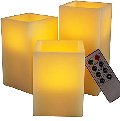 LED Lytes Flameless Candles, Battery Operated Set of 3 SQUARE Unscented Ivory Wax with Amber Yellow Flame and Remote