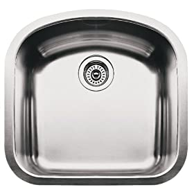 Blanco BL440087 Blanco Elements 9-Inch Deep Single Bowl Undermount Wave Plus Series, Satin Polished