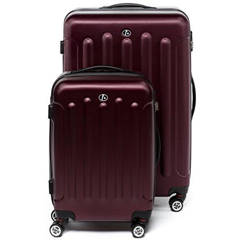 """FERGÉ Set di due valigie LYON - Due valigie rigide - due pz. valigie da 20"""" e 28"""" con 4 ruote (360) ABS rossocupo"""
