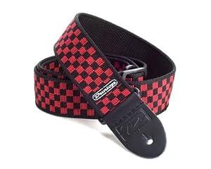 Black Grey Base w// Red Checkered Flag Plaid Checkers Guitar Strap