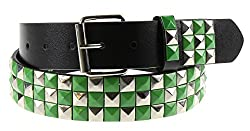 Q Collection Faux Leather Pyramid Studded Belt - Cool Designer Belt for Men and Women - Quality Construction, Trendy Design - Checker Silver & Green , Large