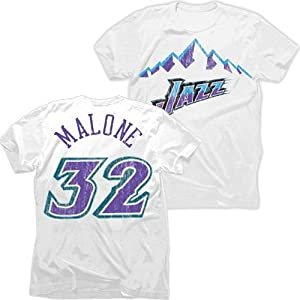 Utah Jazz NBA Karl Malone #32 Mountain Tri-Blend Name & Number T-Shirt M by Majestic Threads